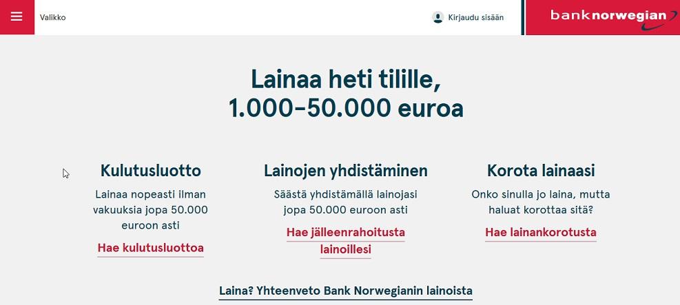 Hae perinteisten pankkien sijaan edullista lainaa Bank Norwegianin verkkolainapalvelusta