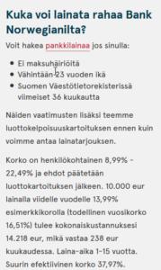 Jos haluat edullisen lainan ja asut Suomessa, niin suuntaa katseesi Bank Norwegian nettipankkiin