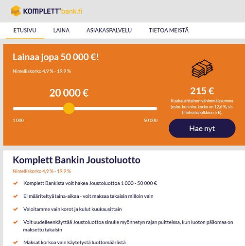 Voit saada huikean edullisen joustoluoton, jos haet lainaa heti Komplett Bankin nettisivustolta