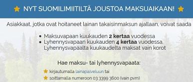 Maksu- ja lyhennysvapaiden kuukausien käyttäminen todellakin kannattaa. Voit pitää täysin maksuttoman kuukauden kaksi kertaa vuodessa Suomilimiitin asiakkaana.