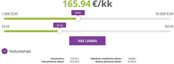 Erittäin edullinen 5000 euron laina on helppo hakea ja saat rahat heti tilille