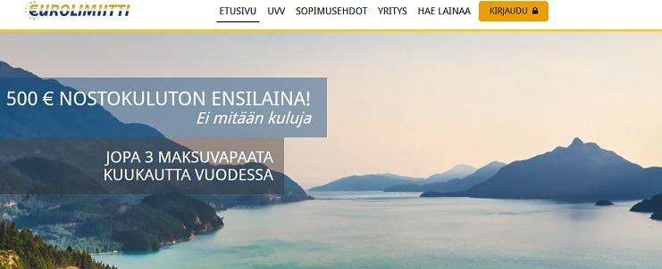 Eurolimiitti tarjoaa asiakkailleen ensinoston täysin kuluttomana ja korottomana 500 euroon asti, jos maksat lainasummasi takaisin ensimmäiseen eräpäivään mennessä