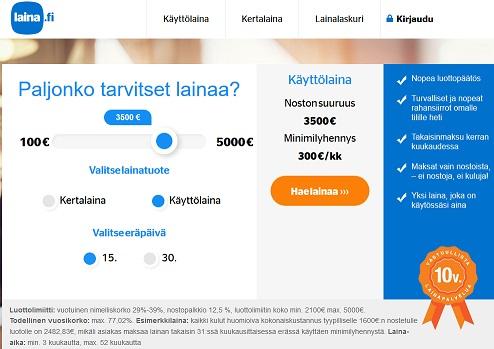 Laina.fi tarjoaa 5000€ kertaluoton tai luottotilin