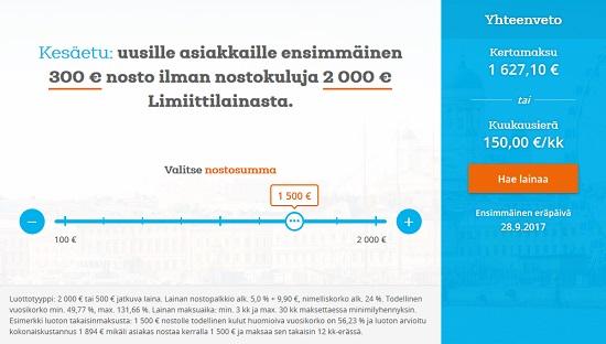 Limiitti.fi tarjoaa jokaiselle uudelle asiakkaalleen ensimmäisen noston ilmaiseksi 300 euroon asti