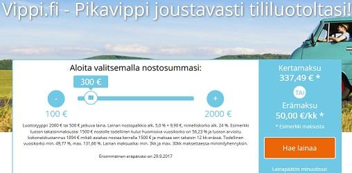 Vippi.fi joustolainasta voit nostaa rahat tilillesi heti luottopäätöksen saatuasi