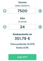 Lainaesimerkki Bigbankilta haetusta 7500 euron suuruisesta lainasta ja siitä syntyvistä kokonaiskuluista, sekä kuukausierästä.
