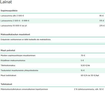 Bigbank.fi:n hinnat ovat kaikenkaikkiaan aika keskinkertaisia. Avausmaksut pieniin lainaan ovat melko suuria, mutta suurempiin lainoihin taas erittäinkin edullisia!