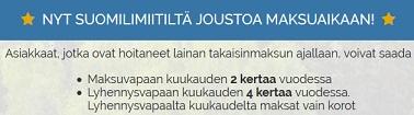 Suomilimiitin tarjoamat maksu- ja lyhennysvapaat kuukaudet ovat näppärä lisäsyy hakea laina juuri Suomilimiitin valikoimasta
