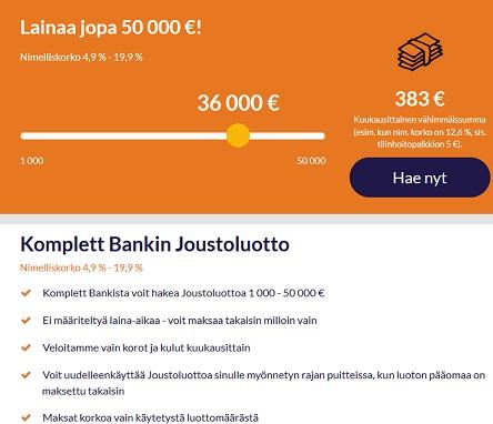 Pari vuotta sitten 50.000 euron vakuudettomasta joustoluotosta puhuminen herättäisi lähinnä kyseenalaisia katseita. Komplett Bank on tehnyt tästä täyttä tottta!