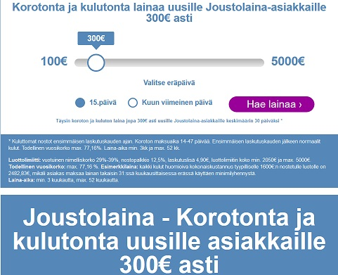 Risicum Joustolainassa voit valita vapaasti lainasummasi ja eräpäiväsi. Valintavaiheessa valitset ensinostosi suuruuden, luottoraja määräytyy yhtiön tekemän riskiarvion mukaan väliltä 2050 - 5000€.