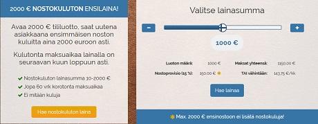 Suomilmiitiltä kampanjaetuna 2000 euron ensilaina ilmaiseksi. Normaalisti ilmainen ensinosto on 1000 euroa.