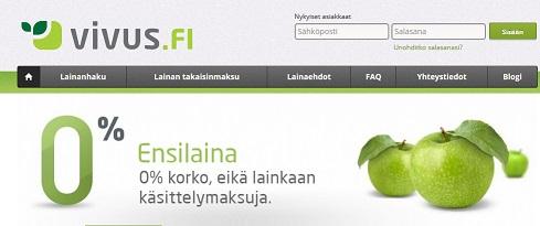Vivus.fi tarjoaa kaikille uusille asiakkaille ensimmäisen 400 euron suuruisen lainan täysin ilmaiseksi.