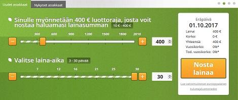 Vivus.fi antaa asiakkailleen 400 euroa lainaa 30 vuorokauden maksuajalla 0 euron kuluilla. Maksat takaisin vain saamasi 400 euroa, etkä mitään ylimääräistä.