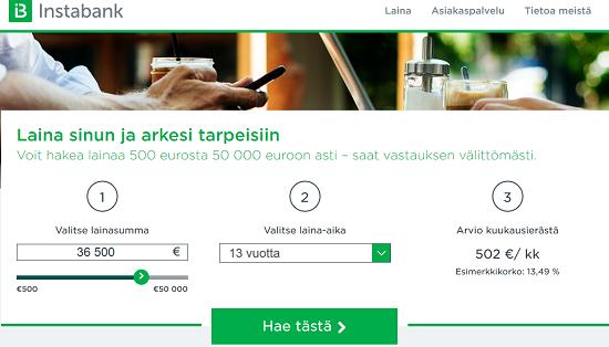 Instabank tarjoaa matalakorkoista, edullista lainaa asiakkailleen nopeasti netistä