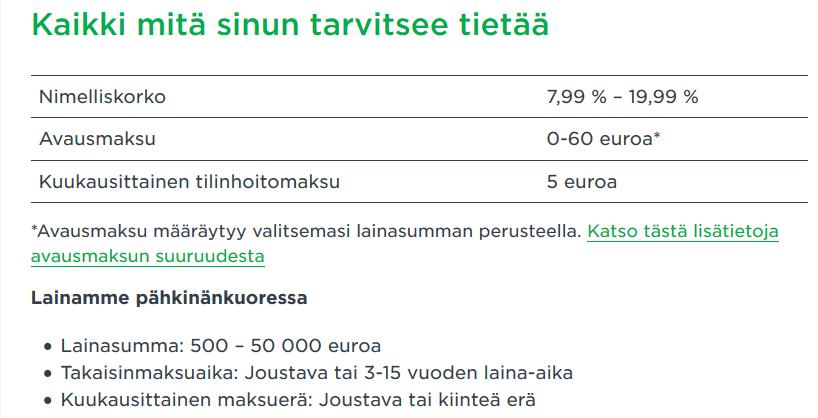 Instabank listaa selkeästi tärkeimmät tiedot ja faktorit lainan myönnön suhteen. Helppo 50.000 euron pankkilaina irtoaa Instabankilta jos kriteerit täyttyvät.