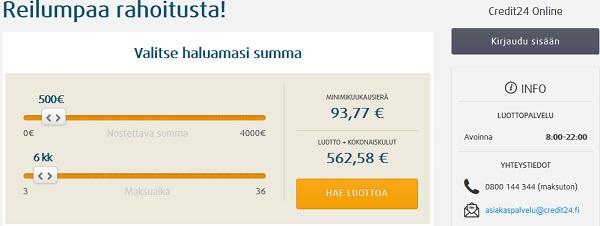 Credit24 joustoluottoon huikea 4000 euron limiitti ilman lainkaan nostokuluja